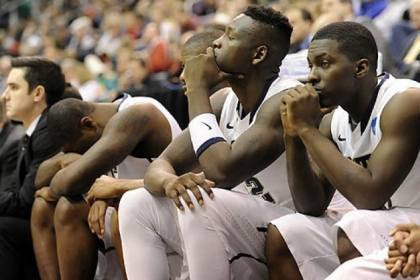 The Pitt bench watches the final seconds of their team&#039;s loss to Wichita State in the second round of the NCAA tournament at Energy Solutions Arena.