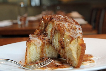 Cinnamon swirl brioche with bacon butterscotch is a treat at Eleven.