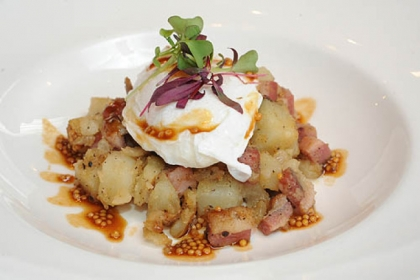 The Pastrami Hash with poached egg, mustard seed and horseradish at Eleven.