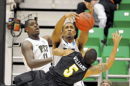Pitt&#039;s Trey Zeigler fights for a rebound against Wichita State&#039;s Demetric Williams Friday in Salt Lake City.