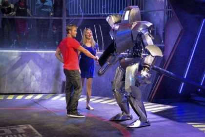 "Carnegie Mellon grad student and robotics expert Heather Knight and her partner, John Peele, get acquainted with their fighter, ""Medieval."" They competed on this week's episode of Syfy's ""Robot Combat League."""
