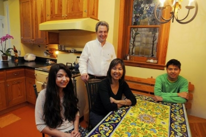 David & Cristina Lagnese and children Maria, 16, left, and Marco, 18, far right, in the kitchen.