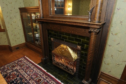 Dining room fireplace.