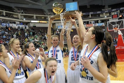 Bishop Canevin players celebrate after defeating York Catholic 45-38 in the PIAA AA Girls basketball championship Friday at Giant Center in Hershey, Pa.