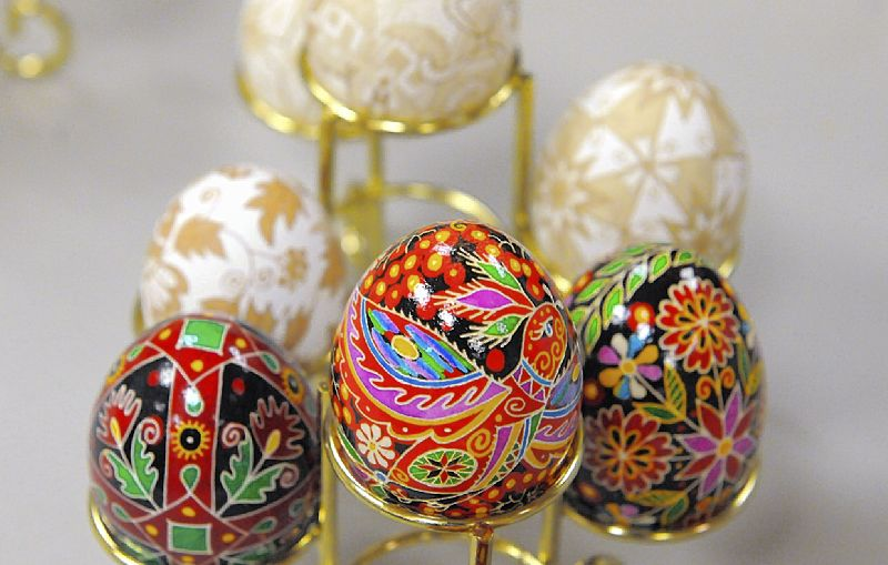 The intricate designs on a pysanky egg are sketched on the shell in melted wax. The eggs are dipped in various dyes and sketched with more details. The hardened wax prevents the color from seeping, and when the wax is melted off the egg, the colors stand out.
