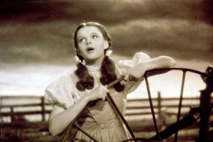 "Judy Garland, as Dorothy Gale, sings ""Over the Rainbow,"" in a scene from the classic 1939 film ""The Wizard of Oz."""