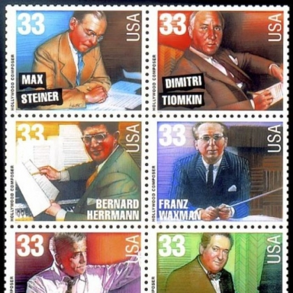 The U.S. Postal Service honored six distinguished movie composers on stamps in 1999.