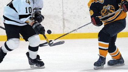 Quaker Valley's Ryan Dickson, left, battles Freeport's Justin Drzemiecki for possession of the puck during a game earlier this season.