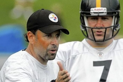 Steelers offensive coordinator Todd Haley, left, talks with quarterback Ben Roethlisberger during a training camp practice in Latrobe in July.