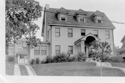 The McAuley house in Mt. Lebanon with original portico in a photo taken shortly after the house was finished in the early 1930s.